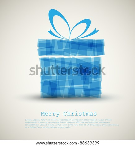 Simple Christmas card with a gift made from blue rectangles - stock vector