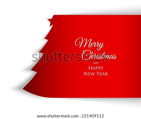 Simple Christmas tree background made of paper with shadow on white background - stock vector