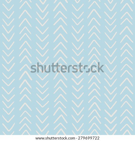 Simple classic herringbone pattern. Vector seamless pattern in light blue color. Abstract hand drawn background.  - stock vector