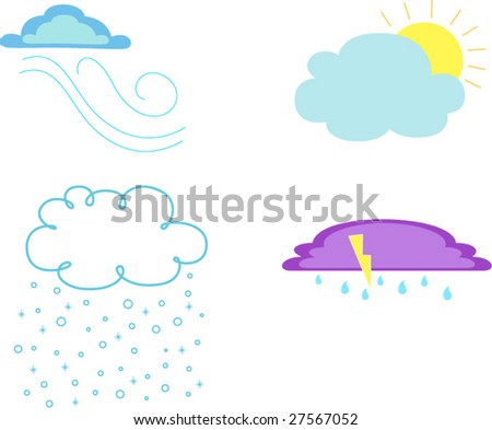 Simple Cloud Vector Illustrations - stock vector