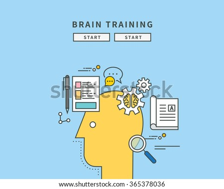simple color line flat design of brain trainning, modern vector illustration - stock vector