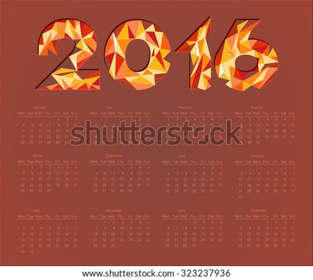 Simple colorful calendar for year 2016 - stock vector