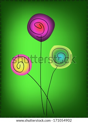 simple colorful flowers on green background - stock vector