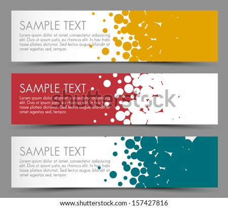 Simple colorful horizontal banners - with circle motive - yellow, red and blue - stock vector
