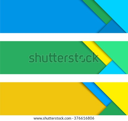 Simple colorful horizontal vector banners in a material design style - stock vector