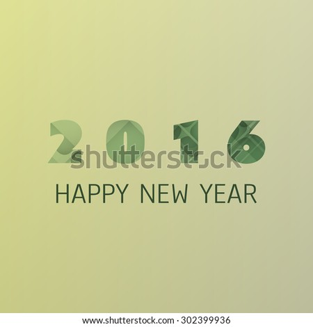 Simple Colorful New Year Card, Cover or Background Design Template - 2016 - stock vector