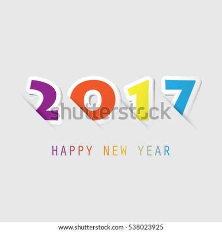 Simple Colorful New Year Card Cover Stock Vector 538023925 ...