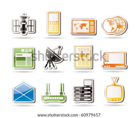 Simple Communication and Business Icons - Vector Icon Set - stock vector