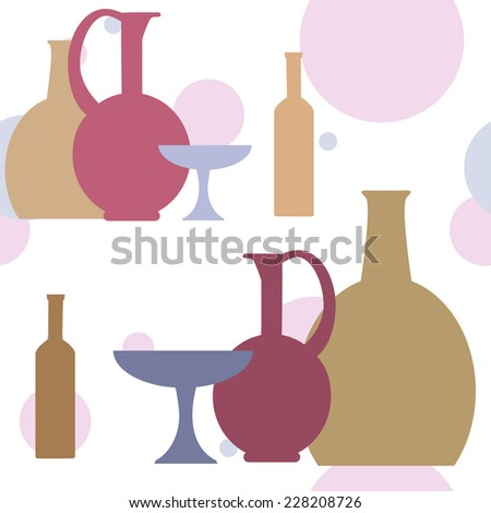 Simple composition with colorful bottles and vases on an abstract background. Clipping mask is used, vector illustration. - stock vector