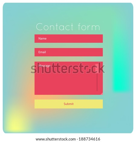 Simple contact us form flat modern templates. Vector template for smartphones, tablets, web sites, games. Graphic user interface. - stock vector