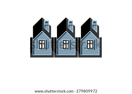 Simple cottages vector illustration, country houses, for use in graphic design. Real estate concept, region or district theme. Building company abstract image. - stock vector