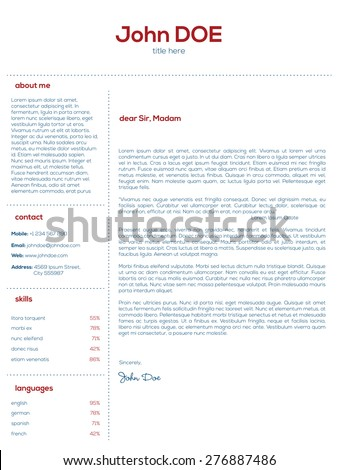 Simple cover letter design for resumes and cvs - stock vector