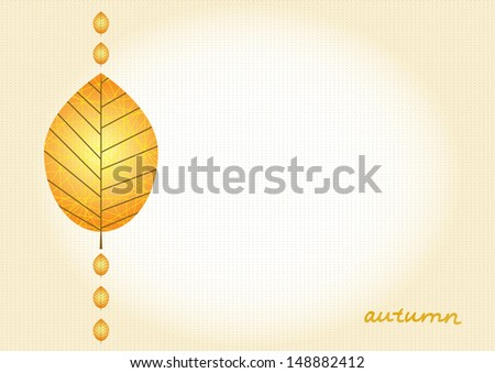 simple cute vintage background with the autumn leaf. this can be used as a background or a separate element. - stock vector