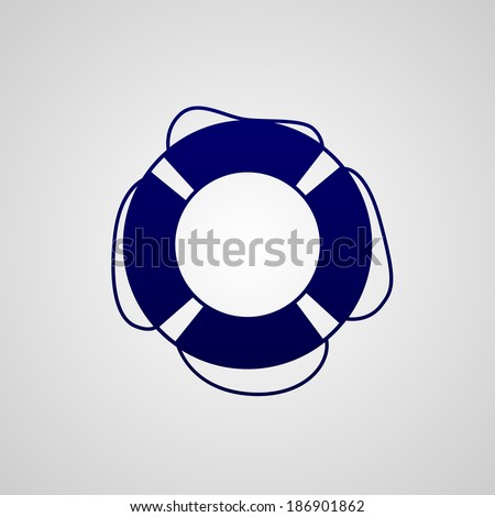 Simple dark blue icon lifebuoy isolated on white background - stock vector