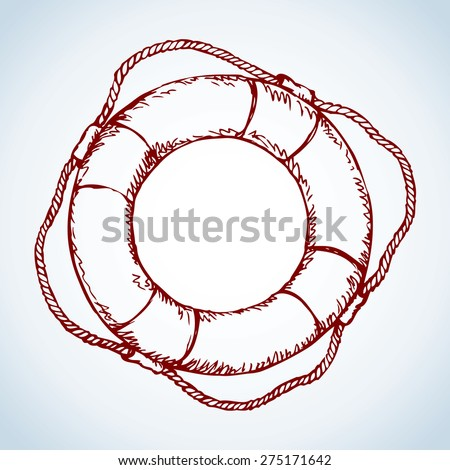 Simple dark red icon old ship equipment: lifebuoy with cord isolated on white background. Vector freehand ink drawn backdrop sketch in art doodle style pen on paper. View close-up with space for text - stock vector
