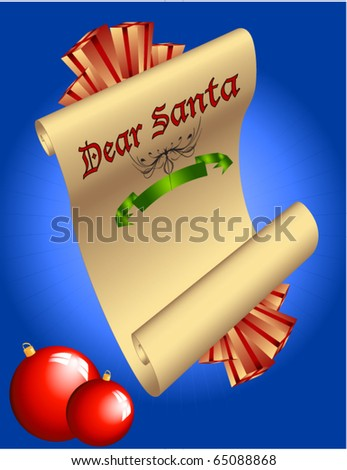 Simple dear Santa Letter- Ready for your Letter to the Big man - stock vector