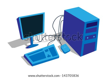 simple desktop computer vector image - stock vector