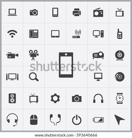 Simple device icons set. Universal device icons to use for web and mobile UI, set of basic device elements
