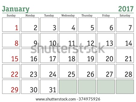 Simple digital calendar for January 2017. Vector printable calendar. Monthly scheduler. Week starts on Sunday. English calendar - stock vector