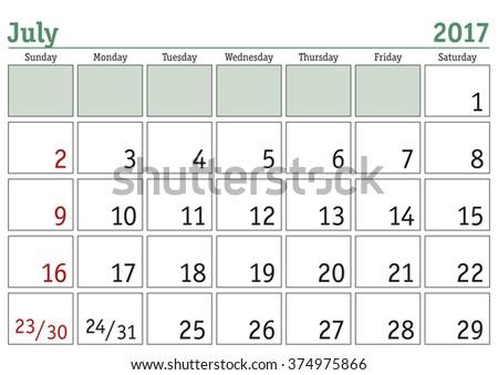 Simple digital calendar for July 2017. Vector printable calendar. Monthly scheduler. Week starts on Sunday. English calendar - stock vector