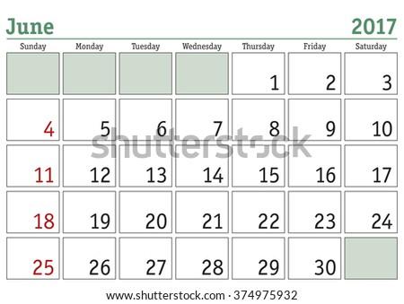 Simple digital calendar for June 2017. Vector printable calendar. Monthly scheduler. Week starts on Sunday. English calendar - stock vector