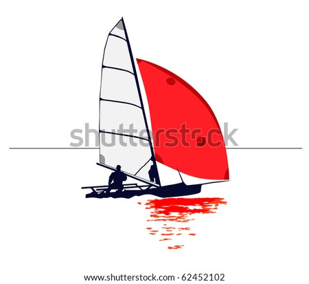 Simple Dinghy with Red Sail Reflection