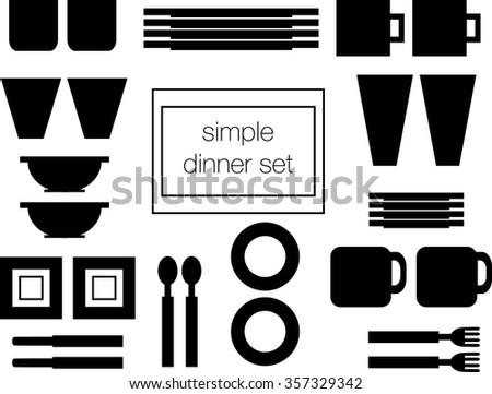 Simple dinner set of dishes plates bowls cups and more in black  sc 1 st  Shutterstock & Simple Dinner Set Dishes Plates Bowls Stock Vector HD (Royalty Free ...