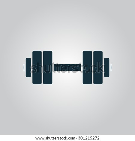Simple Dumbbell. Flat web icon or sign isolated on grey background. Collection modern trend concept design style vector illustration symbol - stock vector