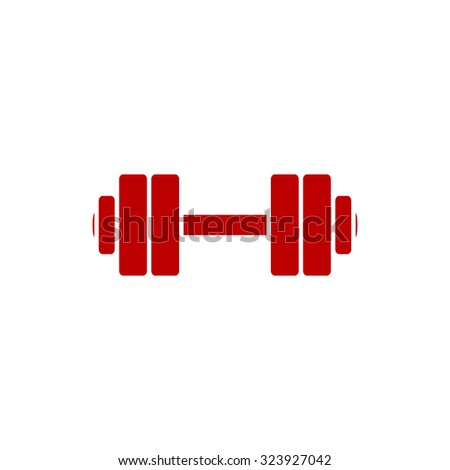 Simple Dumbbell. Red flat icon. Vector illustration symbol - stock vector