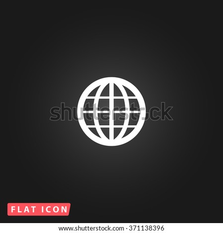 Simple Earth Globe Emblem. White flat simple vector icon on black background. Icon JPEG JPG. Icon Picture Image. Icon Graphic Art. Icon EPS AI. Icon Drawing Object. Icon Path UI - stock vector