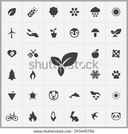 Simple ecology icons set. Universal ecology icons to use for web and mobile UI, set of basic ecology elements - stock vector