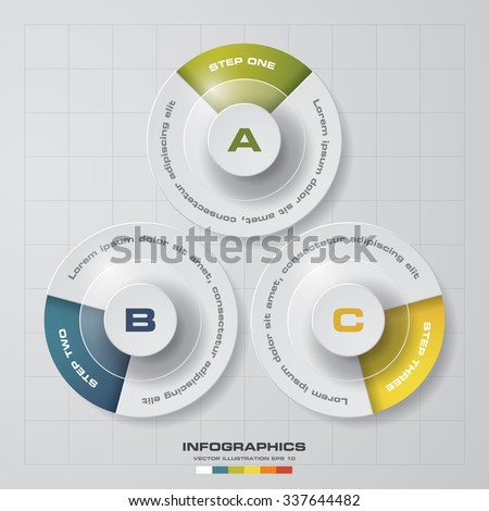 Simple&Editable 3 Steps chart diagrams template/graphic or website layout. Vector. - stock vector