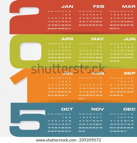 simple editable vector calendar 2015 - stock vector