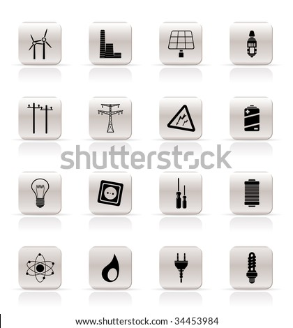 Simple Electricity,  power and energy icons - vector icon set - stock vector