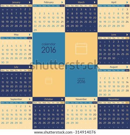 Simple european calendar for 2016 year twelve month grid. Vector illustration. - stock vector