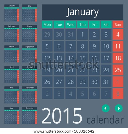 Simple european calendar grid for 2015 year. Clean and neat. Only plain colors - easy to recolor. Vector illustration. - stock vector
