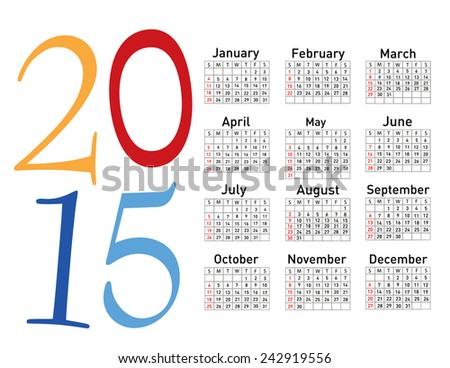 Simple european 2015 year vector calendar - stock vector