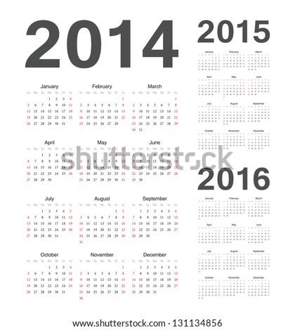 Simple european 2014, 2015, 2016 year vector calendars - stock vector