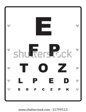 Simple eye exam chart vector - stock vector