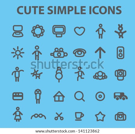 simple family, doodle icons, signs set, vector