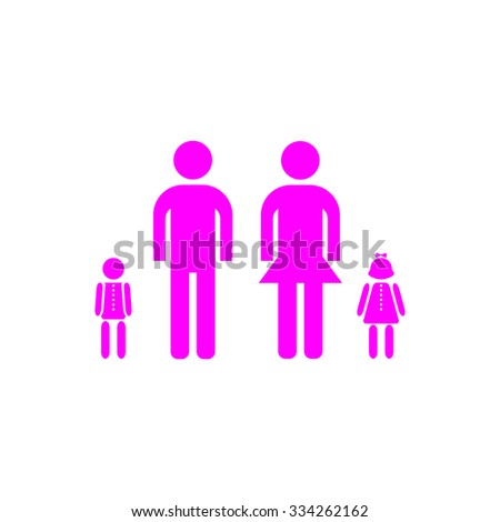 Simple family. Pink flat icon. Simple vector illustration pictogram on white background