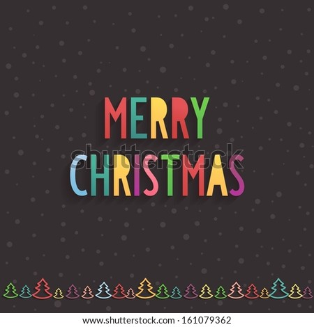 Simple festive Merry Christmas text in center of various pastel colors with effect volume and shadow - stock vector