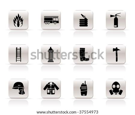 Simple fire-brigade and fireman equipment icon - vector icon set - stock vector
