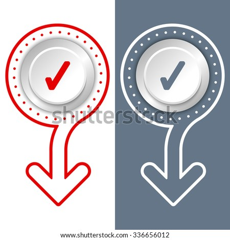 Simple flat abstract arrow and check box - stock vector