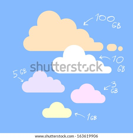 simple flat cloud database icons - stock vector