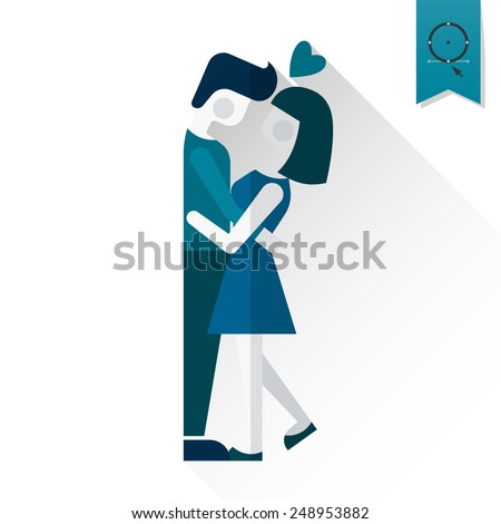Simple Flat Icon for Valentines Day, Wedding, Love and Romantic Events. Vector - stock vector