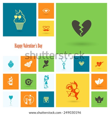Simple Flat Icons Collection for Valentines Day, Wedding, Love and Romantic Events. Vector - stock vector