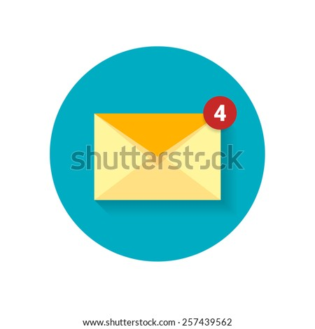 Simple flat illustration of mail with counter on circle blue background - stock vector