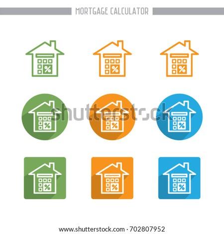 simple flat mortgage calculator icons vector editable