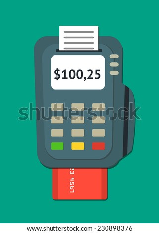 Simple flat POS terminal with credit card icon. Vector illustration. - stock vector